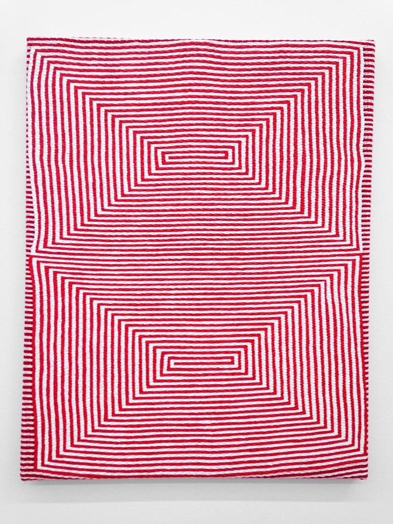 Samantha Bittman, Untitled (red), 2014, Acrylic on hand-woven textile