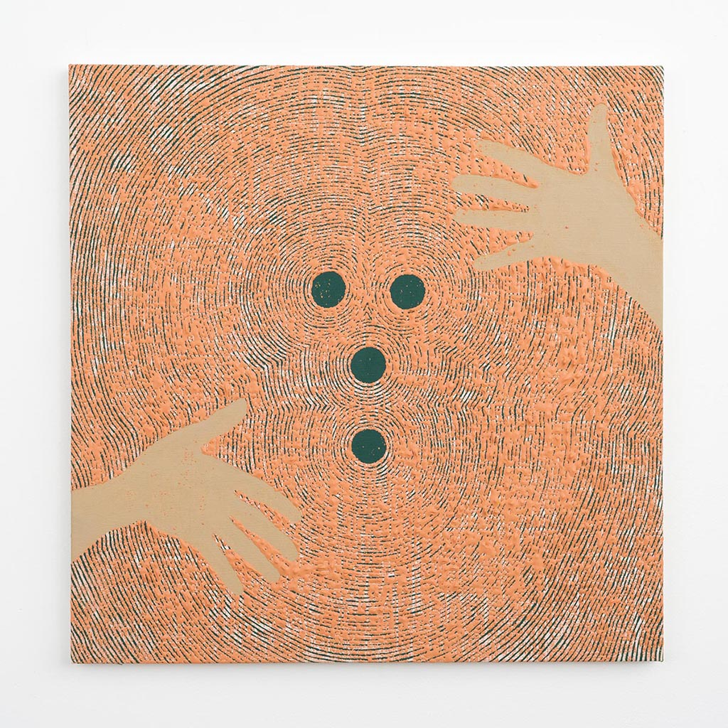 Andy Cahill, Stuck in the Middle, 2015, Acrylic on bleached linen, 24 x 24 in