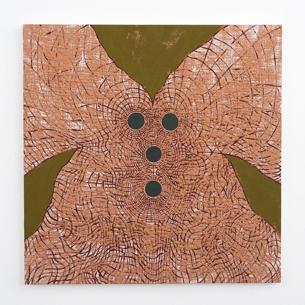 Andy Cahill, Math and Luck, 2015, Acrylic on bleached linen, 24 x 24 in