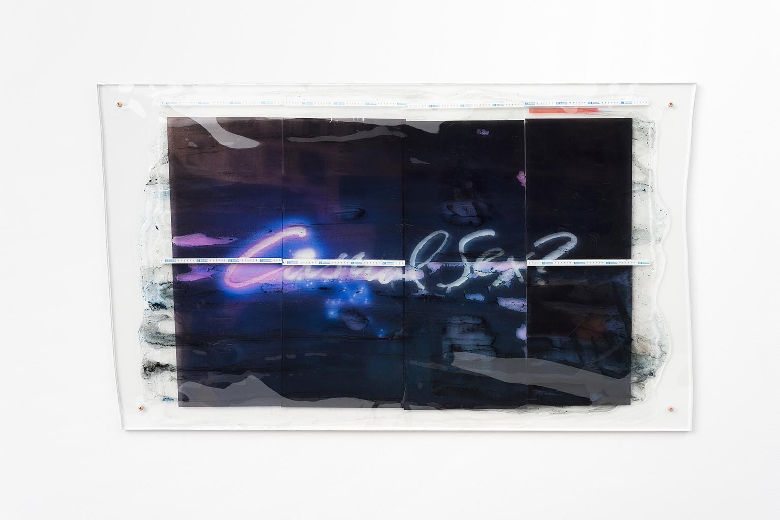 Sara Greenberger Rafferty, Untitled, 2015, Acrylic polymer and inkjet print on acetate and paper on plexiglas and hardware, 24 x 39 in.