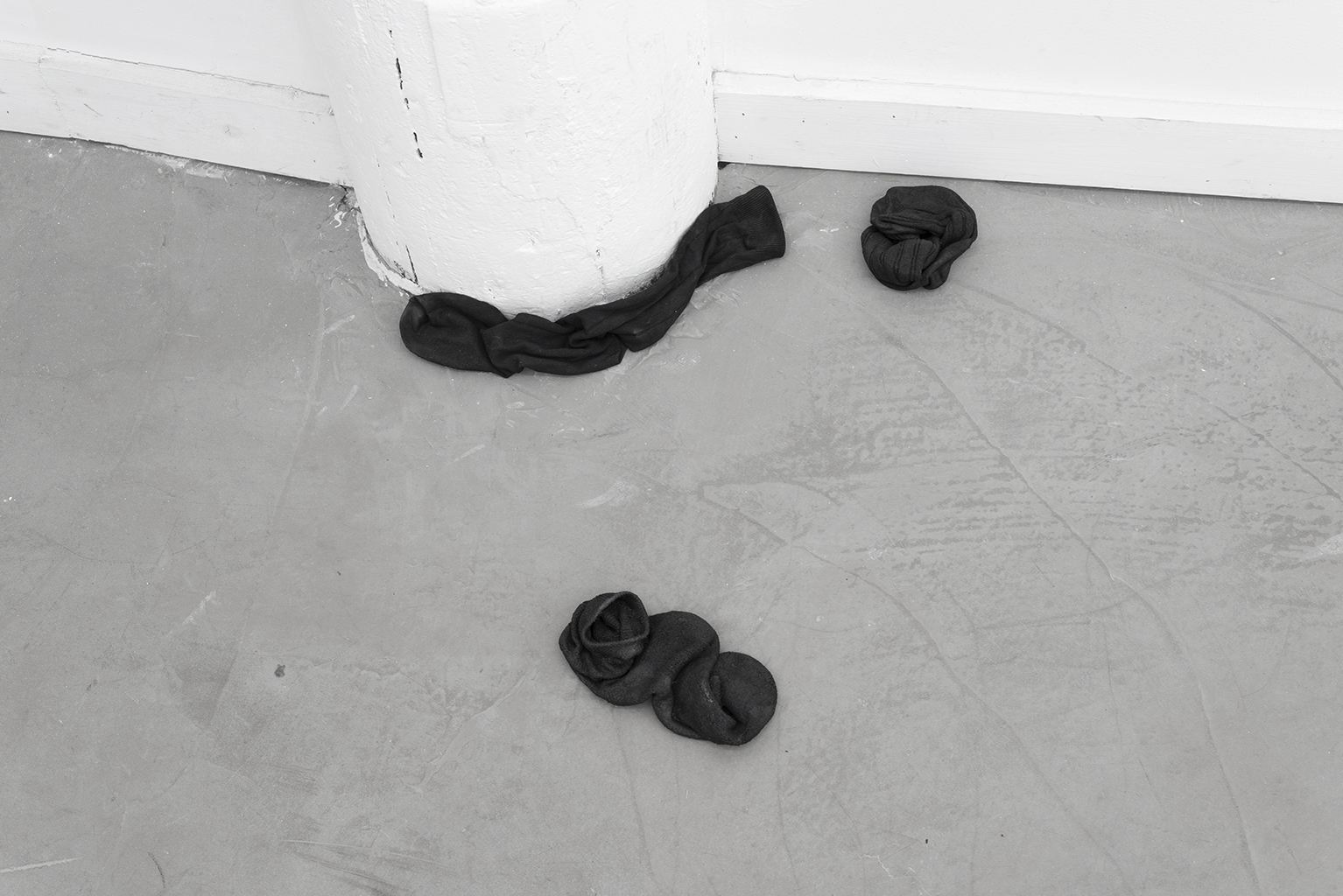 Pile, 2015, gesso, acrylic paint, fabric stiffener,dress socks, dimensions variable