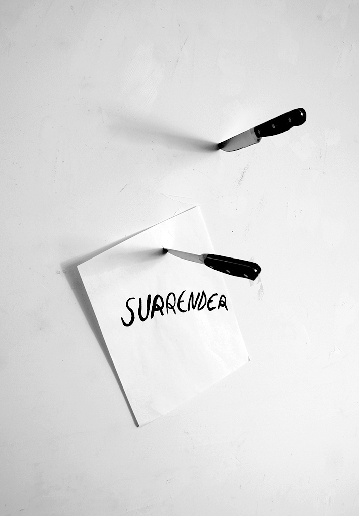 Surender, 2015, ink on paper, knives, dimensions variable