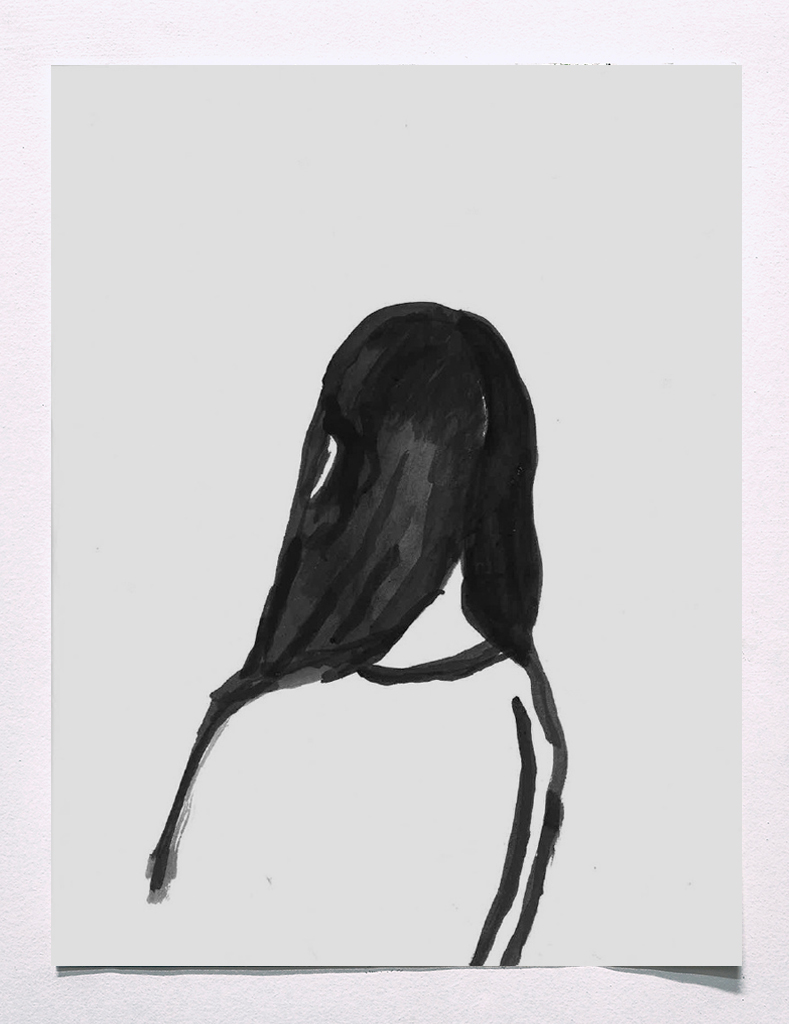 No Title (girl), 2015, ink on paper, 11.5 x 9 inches