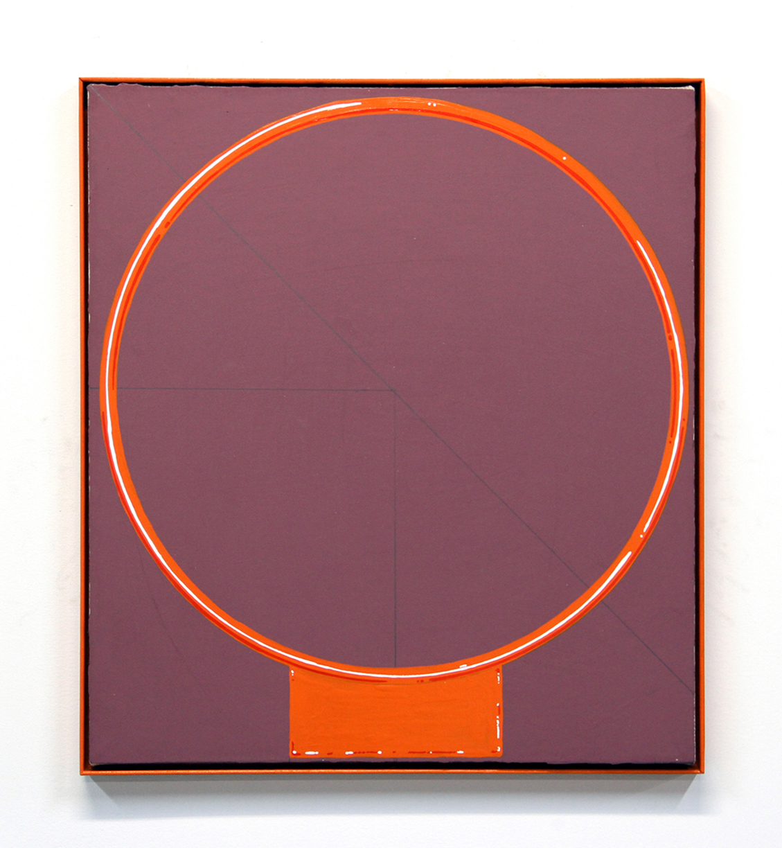 Practice Makes Perfect, 2016, enamel, gesso on canvas, powder-coated steel, 19.5 x 17.5 inches