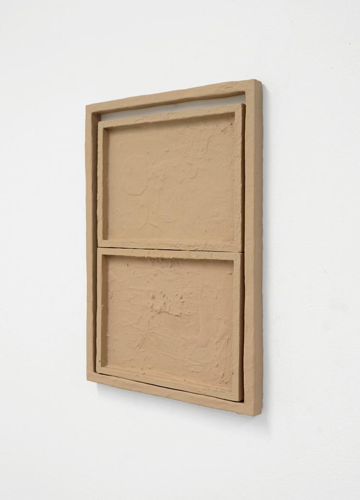 Untitled (sia), 2016, poplar, acrylic, paper, glue, 20 x 14 x 1 inches