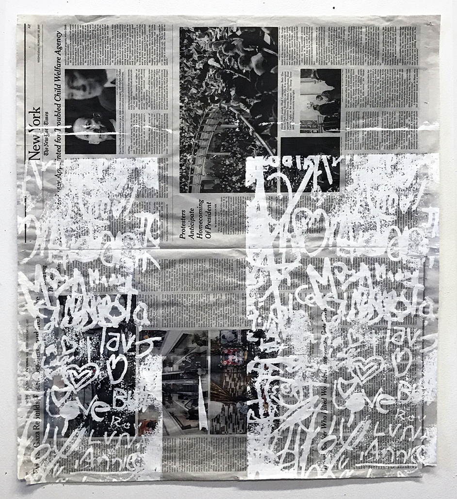 Park Slope, screenprint on newspaper, 2017
