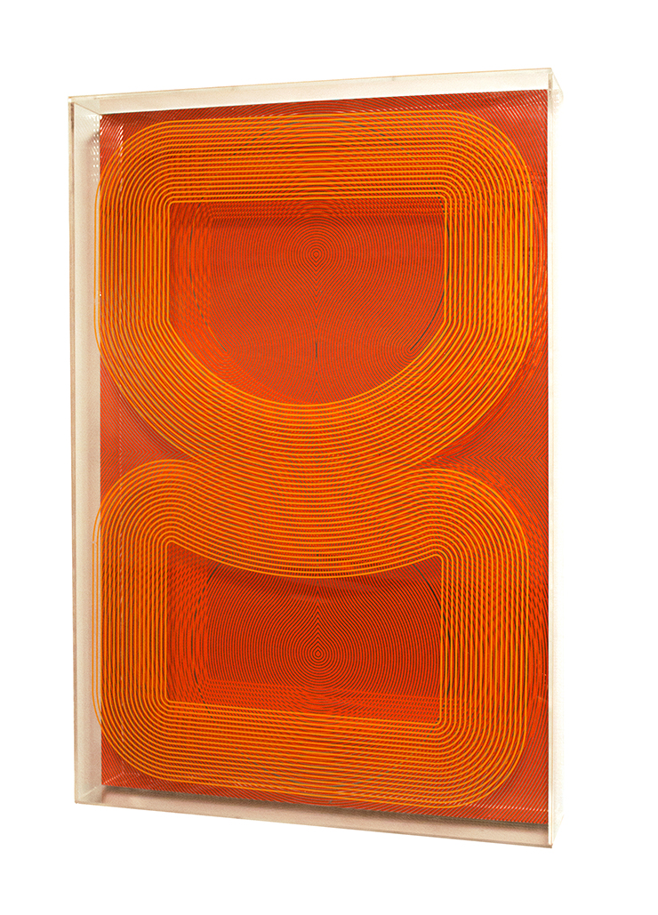 Untitled (Vitrine), 2016 Screenprint on mirror shrink film and acrylic box